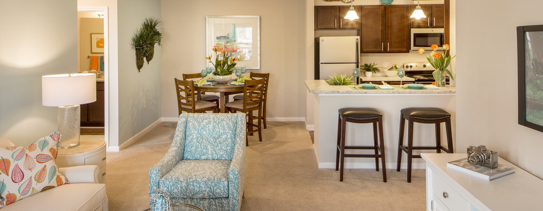 Living room is open to dining area and kitchen