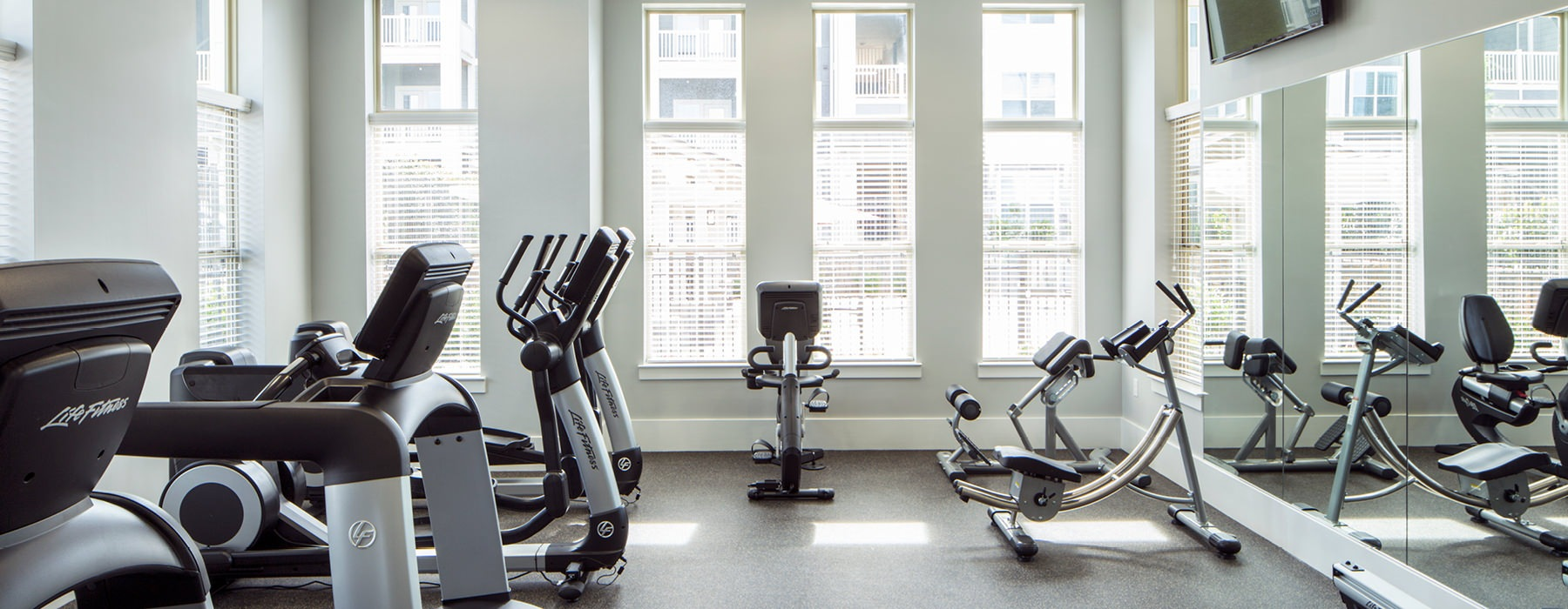 Fitness Center has plenty of windows for natural light