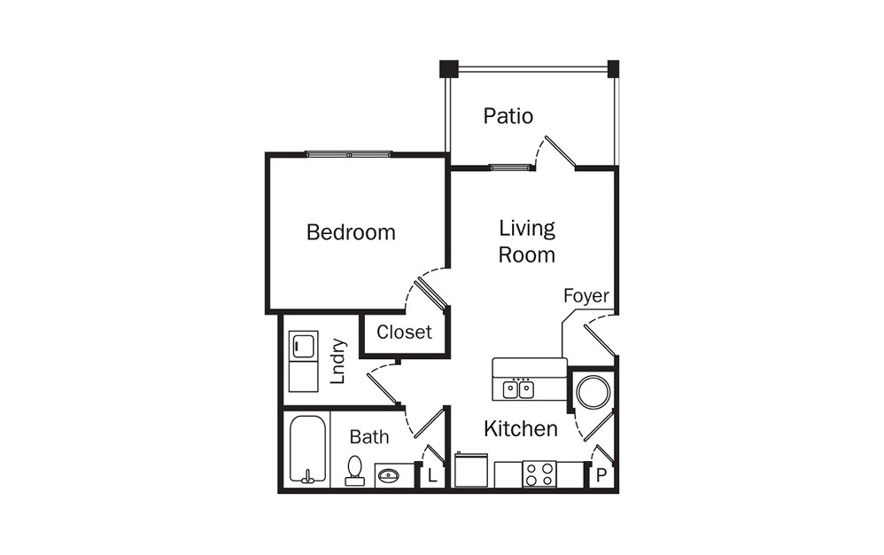 Ashton 1 Bedroom 1 Bath Floorplan