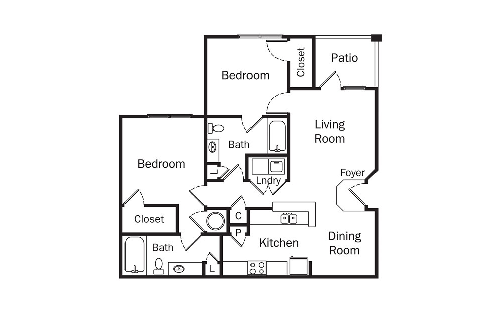Carrington 2 Bedroom 2 Bath Floorplan