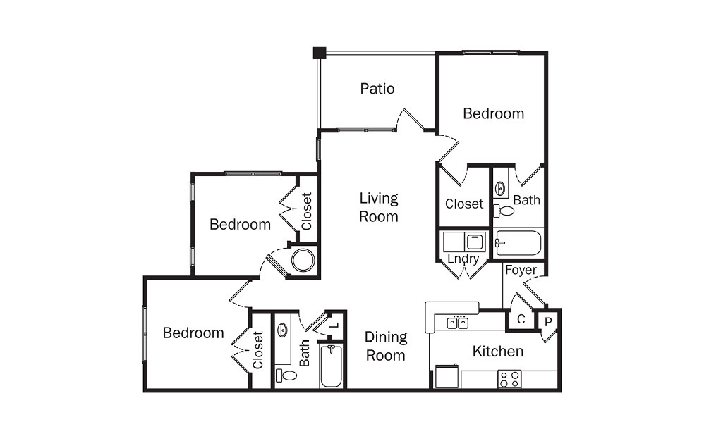 Ellington 3 Bedroom 2 Bath Floorplan