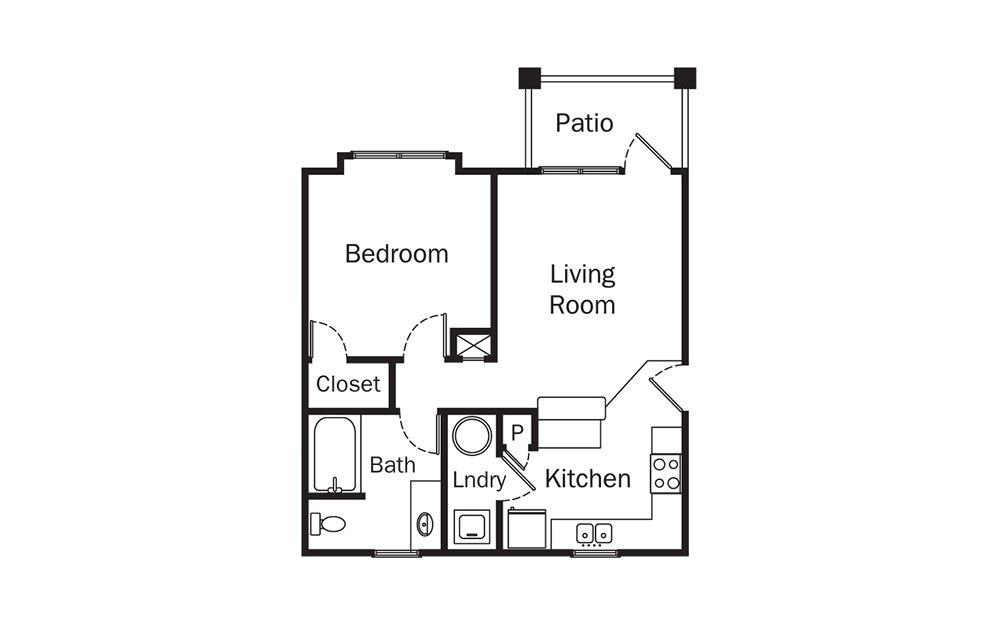 Farrington 1 Bedroom 1 Bath Floorplan