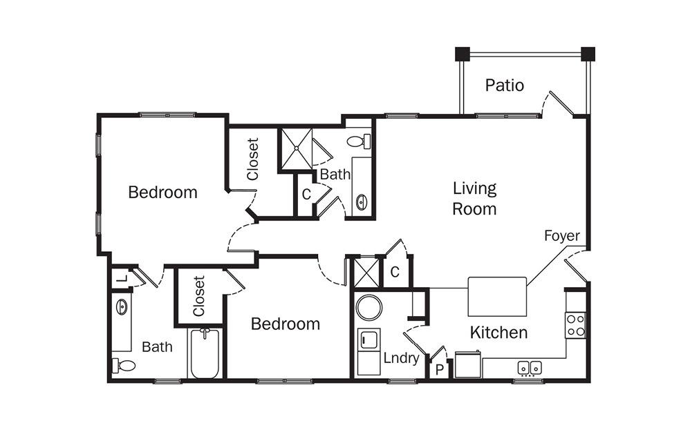 Granton 2 Bedroom 2 Bath Floorplan