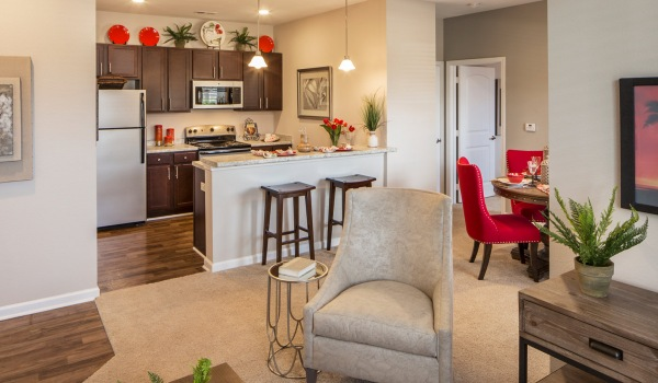 Kitchen is open to living room and dining area